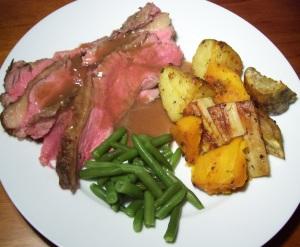 Plated roast beef